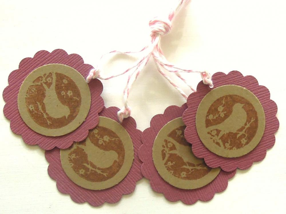 Maroon and Kraft Silhouette Bird Tags - Set of 4